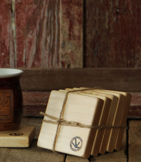 hand-crafted maple coasters