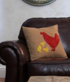 hen and chicks pillow cover
