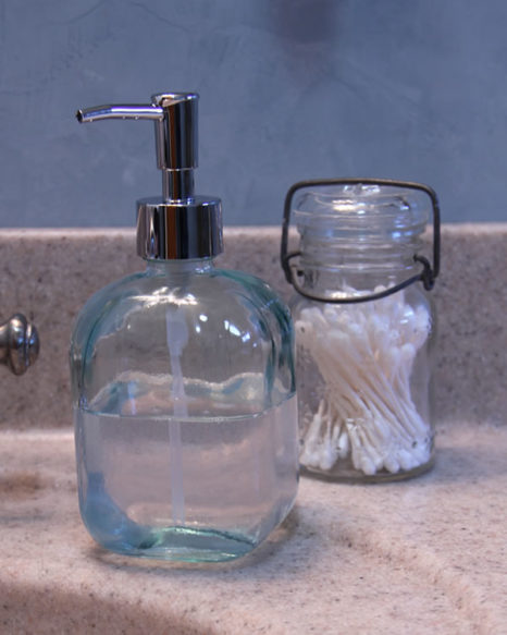 recycled glass pump soap dispenser