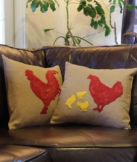 red rooster silhouette pillow cover