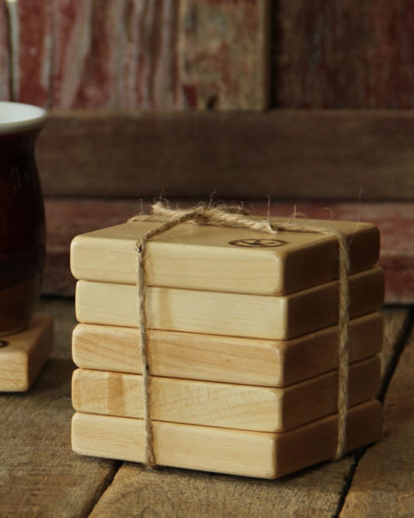 hand-crafted maple drink coasters