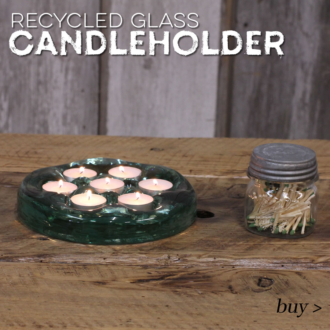 recycled glass tealight candle holder