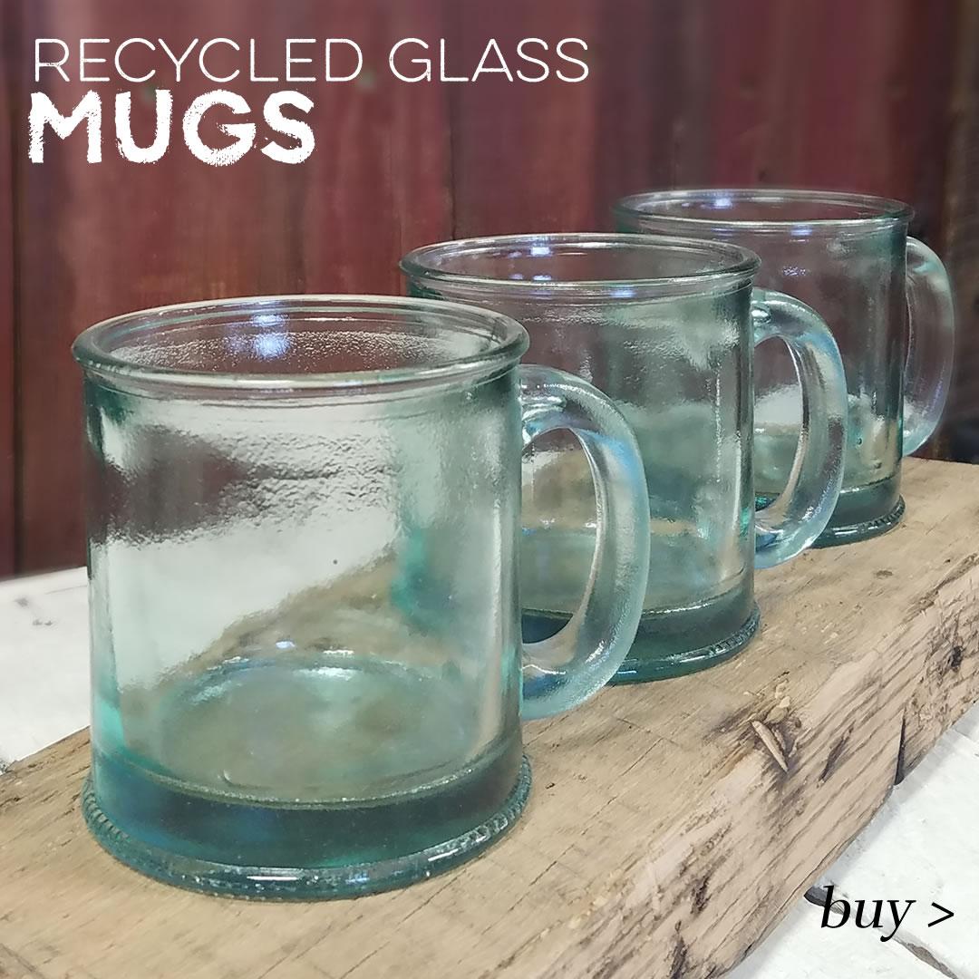 recycled glass mugs