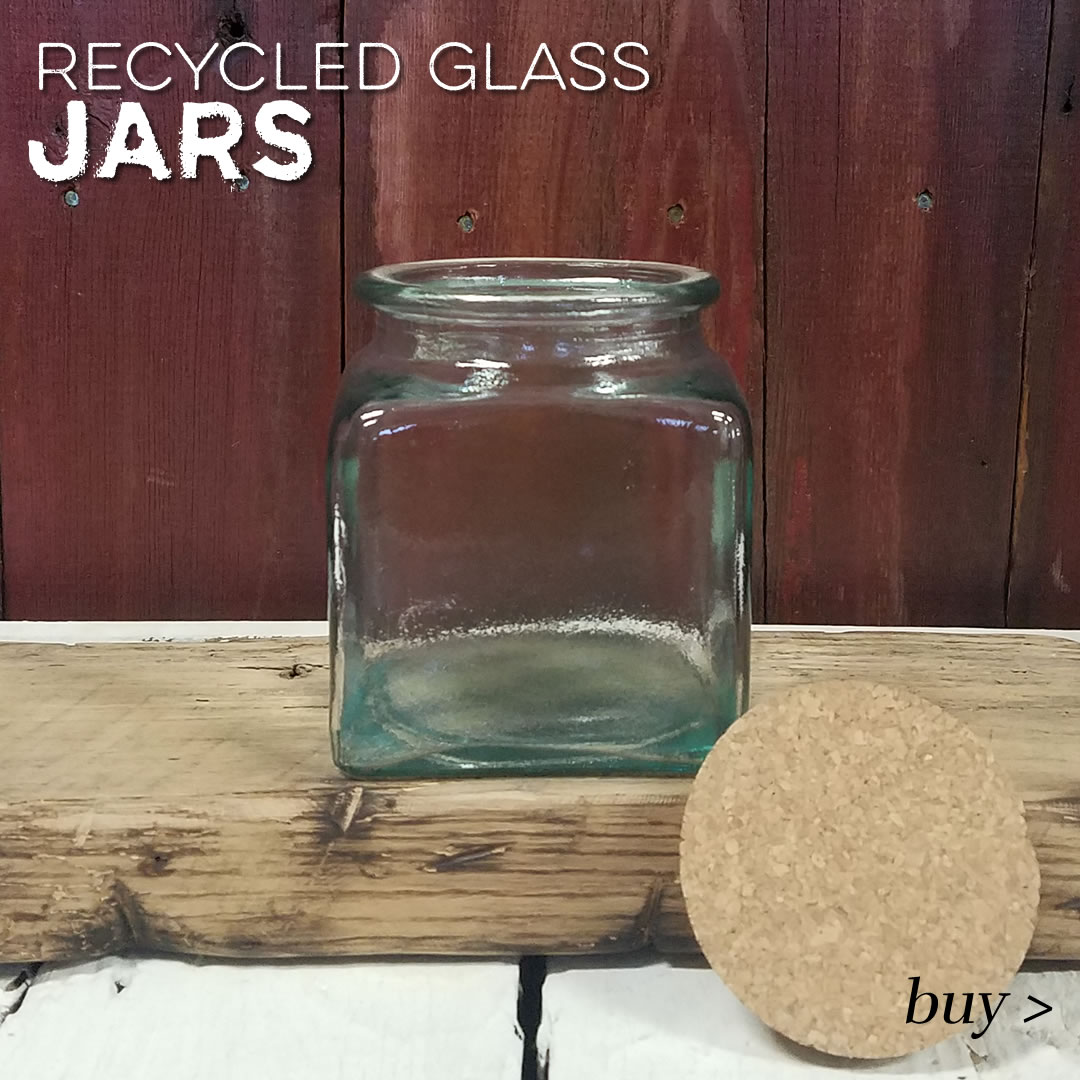 recycled glass storage jars