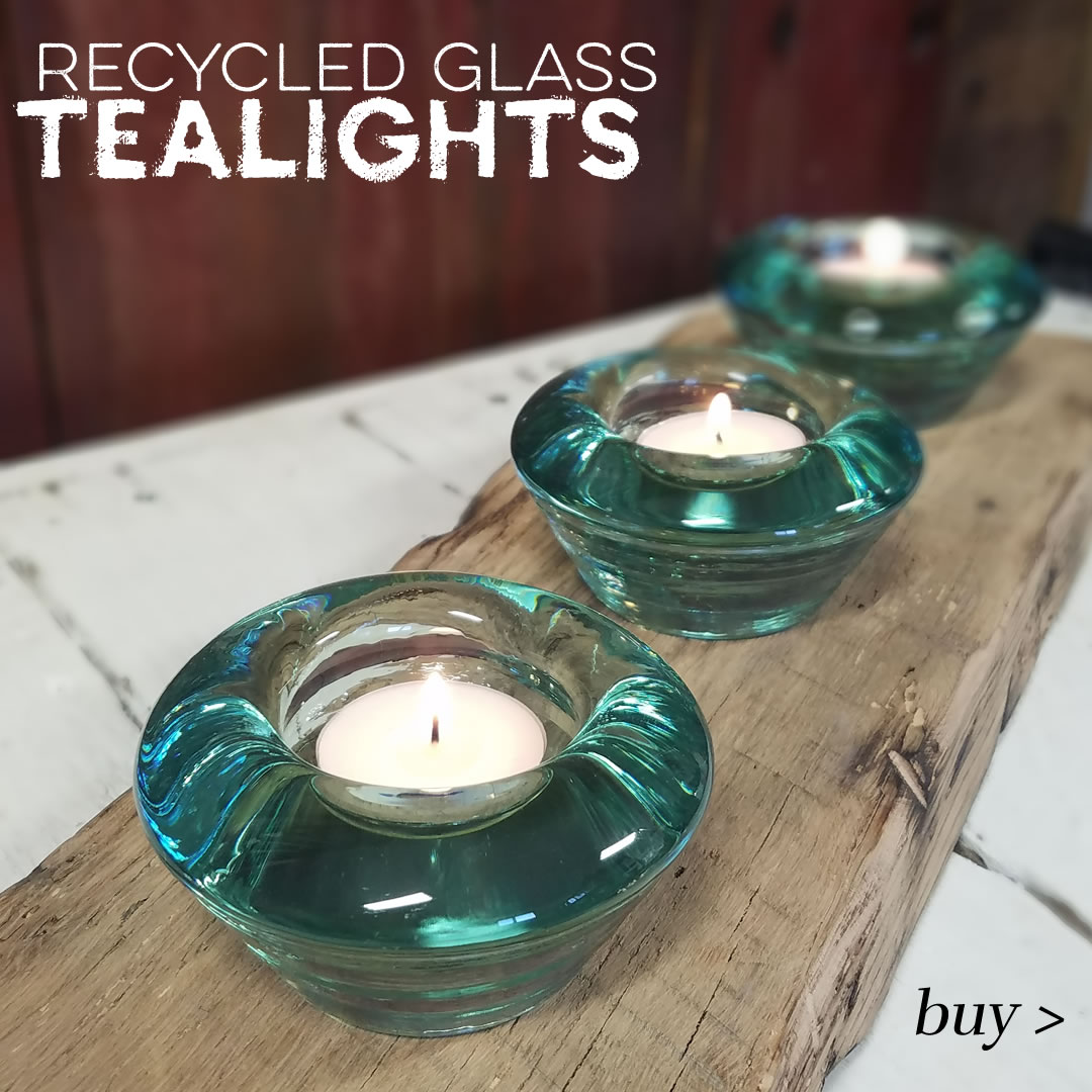 recycled glass candle holders